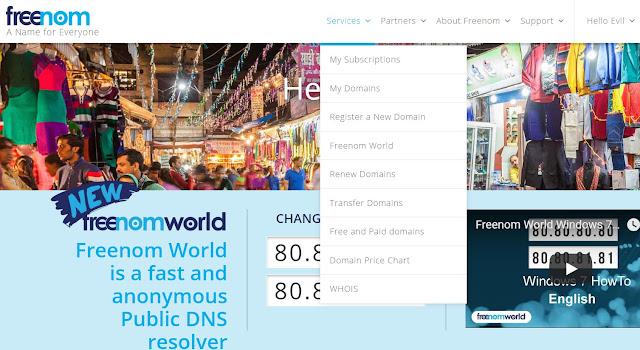 Freenom free domain name
