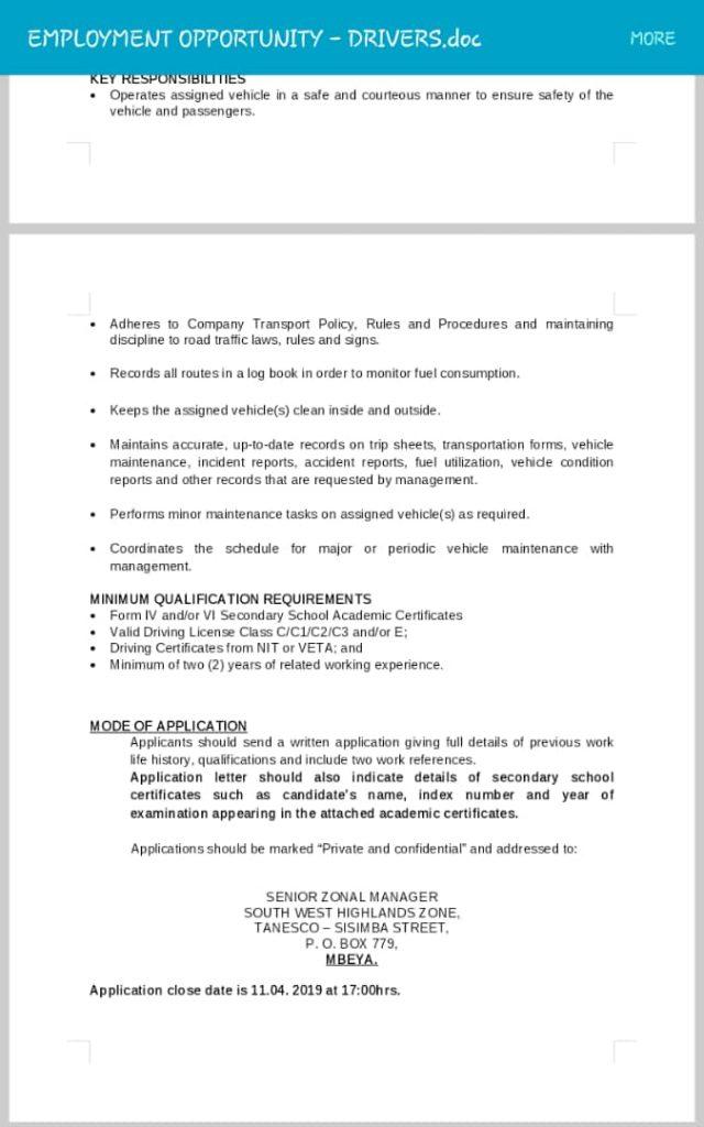 Nafasi za kazi za Madereva TANESCO (33 Jobs)   Ajira zetu - Zoom