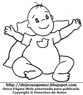 Dibujo de un bebé feliz para colorear pintar e imprimir. Dibujo de un bebé de Jesus Gómez