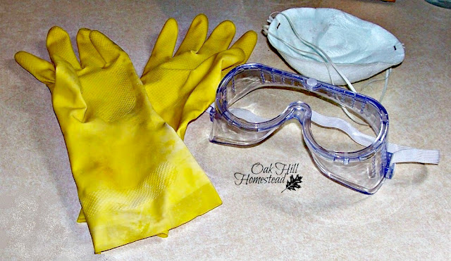 Be careful when you make soap. Here is the safety equipment you'll need: goggles, gloves and mask.