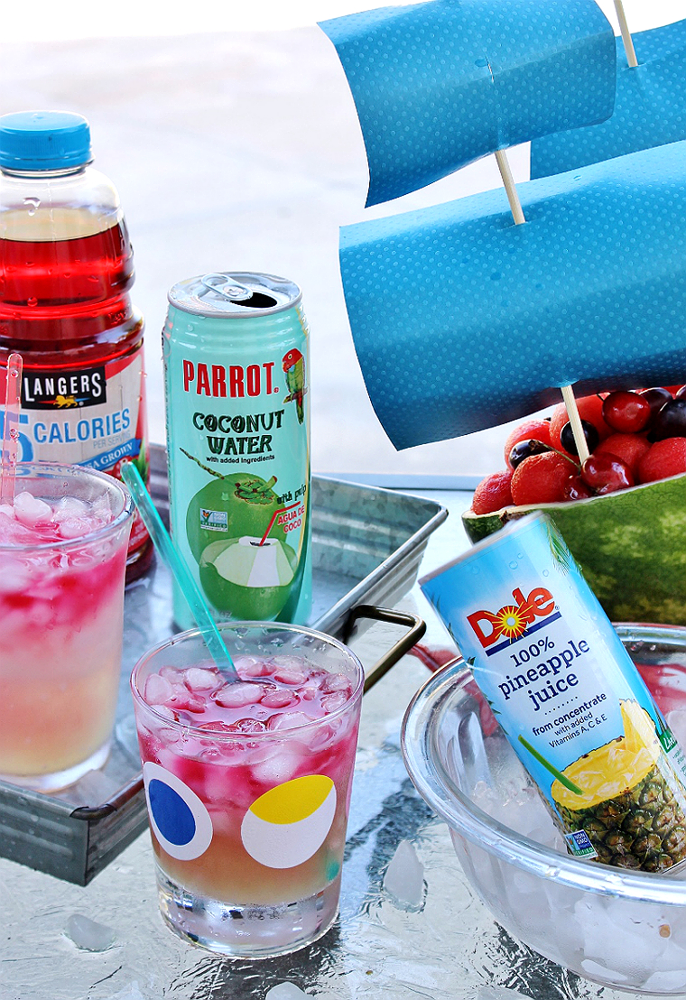 Cran-Coco Sunset Mocktail- Coconut Water, 100% Pineapple Juice + Cranberry Juice. Amazing Summer BBQ Ideas On A Budget #DoThe99 #99Obsessed #AD