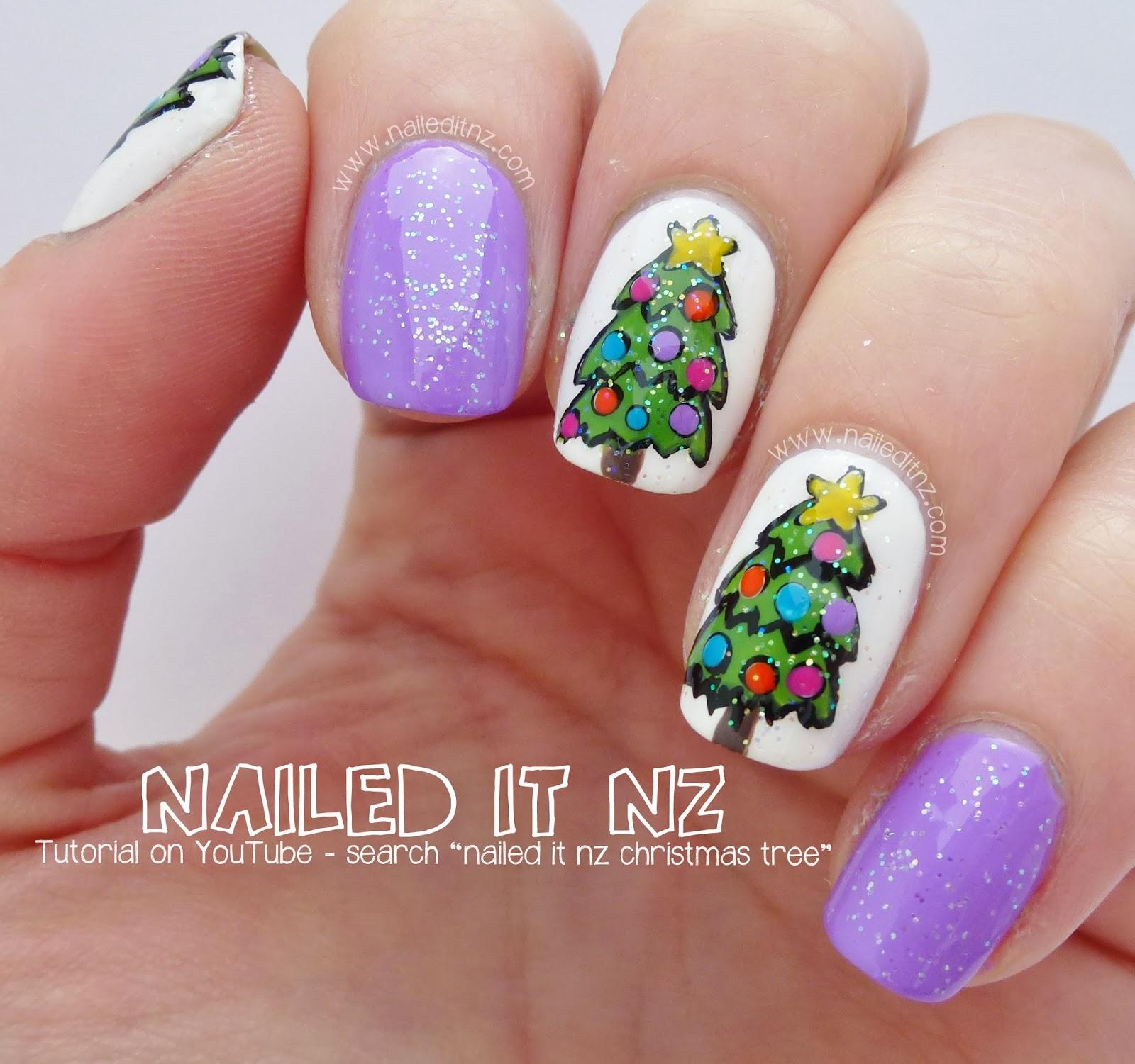 Christmas Nails Tutorial Youtube: Christmas Tree Nail Art Tutorial