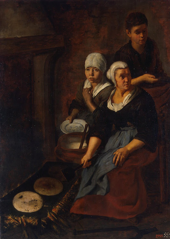 Baking of Flat Cakes by Bartolome Esteban Murillo - Genre Paintings from Hermitage Museum