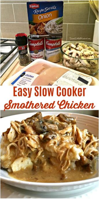 easy slow cooker smothered chicken  delicious recipes food