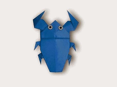 Cách gấp, xếp con Cà Cuống bằng giấy origami - Video hướng dẫn xếp hình côn trùng - How to fold a Giant waterbug