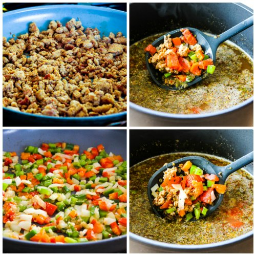 Italian Sausage Soup with Tomatoes and Zucchini Noodles found on KalynsKitchen.com