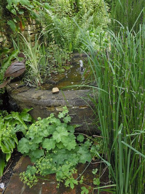 zdrój wodny w ogrodzie kamienny
