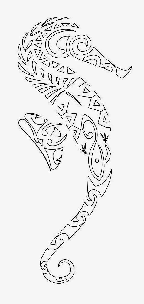 Maori seahorse tattoo stencil