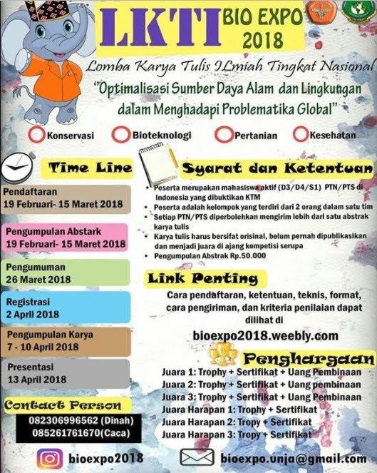 Lomba Karya Tulis Ilmiah Nasional (LKTI) BIO EXPO 2018 UNJA