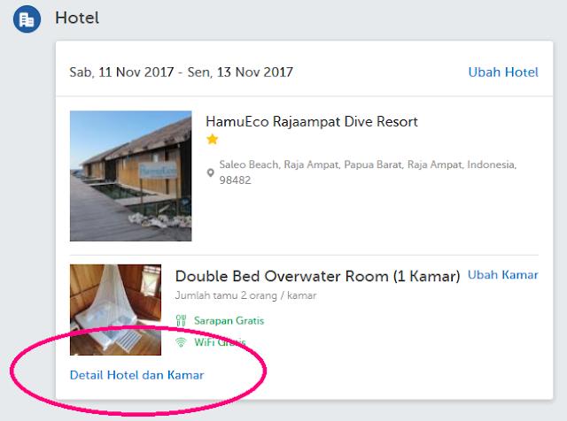 Details hotel dan kamar di Traveloka
