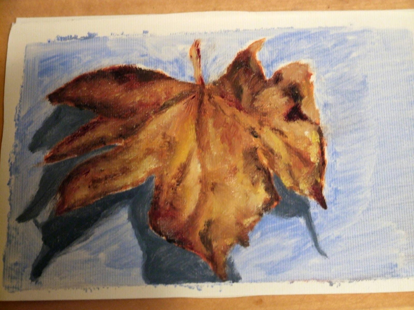 autumn sycamore leaf painting