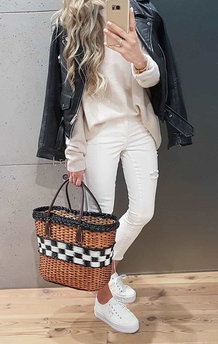 casual style obsession / straw bag + platform neakers + skinnies + cashmere sweater