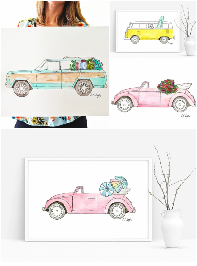 Original Watercolor Car Illustrations by Elise Engh