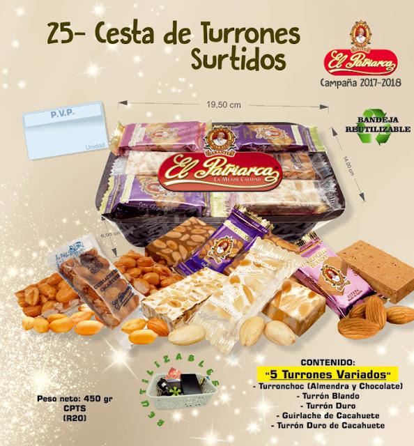 Cesta de Turrones Surtidos El Patriarca 450 g - Comercial H. Martín sa