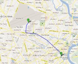 Ruta desde el aeropuerto de Saigón hasta el centro de la ciudad