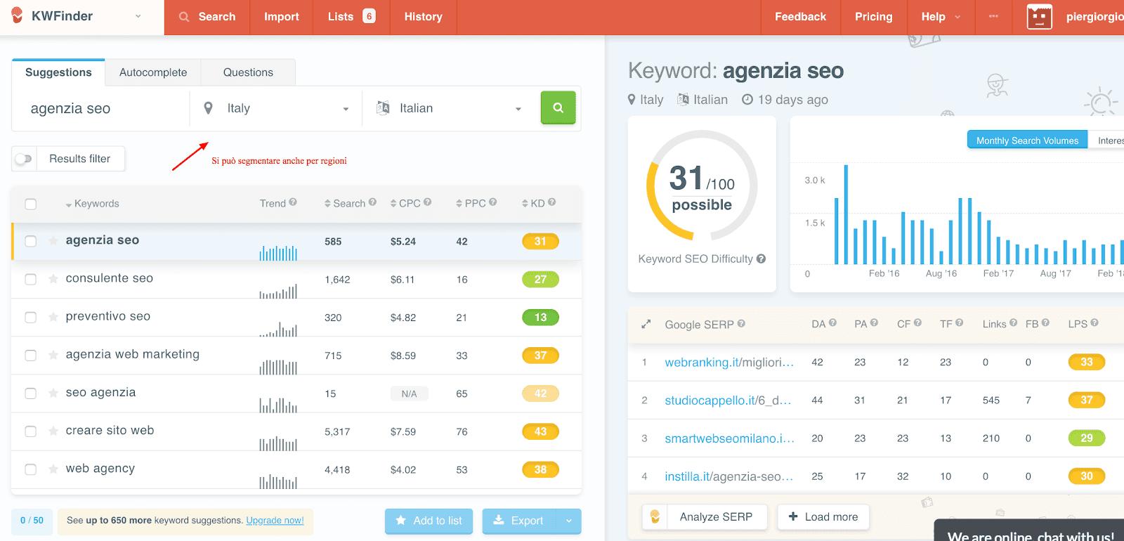 kwfinder strumento SEO di ricerca parole chiave gratuita