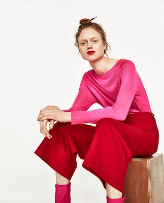 Immagine di outfit completo rosso e rosa Zara