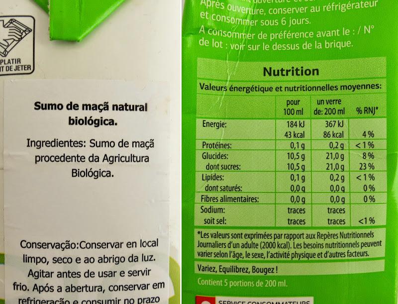 Sumo de Maçã: Lista de ingredientes e informação nutricional (clique para aumentar)