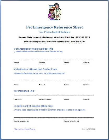 Rhiana Reports Free Printable Pet Emergency Contact List - printable contact list