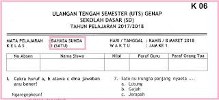 Soal UTS 2 Bahasa Sunda Kelas 1 Terbaru dan Kunci Jawaban