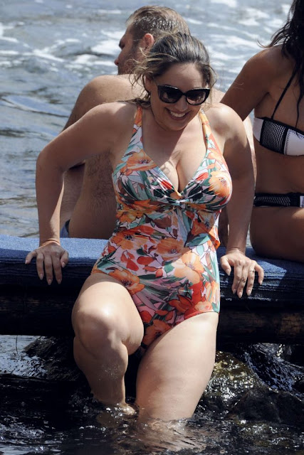 Kelly Brook in Floral Swimsuit