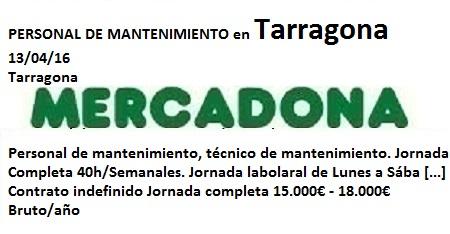 Lanzadera de Empleo Virtual Tarragona, Oferta Mercadona