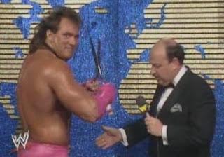 "WWF / WWE WRESTLEMANIA 4: Mean Gene Okerlund talks about Brutus Beefcake's ""package"""