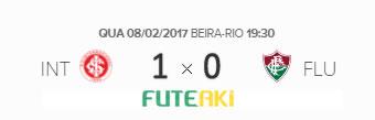 O placar de Internacional 1x0 Fluminense pela Primeira Fase da Primeira Liga 2017