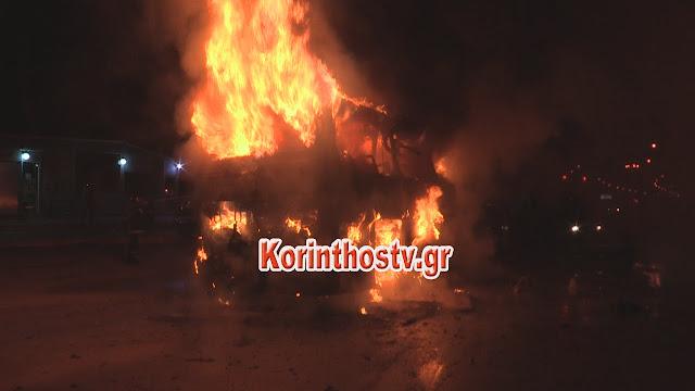 Λεωφορείο με 22 επιβάτες πήρε φωτιά εν κινήσει και κάηκε ολοσχερώς στην Κόρινθο