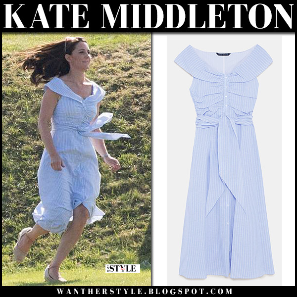 Kate Middleton in blue striped off shoulder midi dress zara royal family summer style june 10