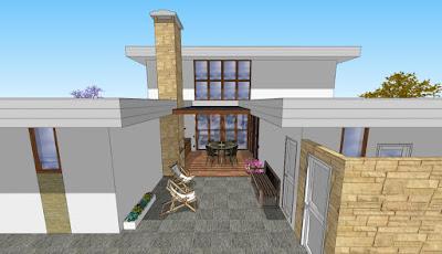 O pátio central da casa é um espaço gourmet para convivência da família e amigos.