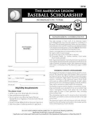 American Legion Baseball Scholarship Application