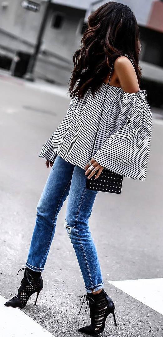 top + bag + jeans + heels