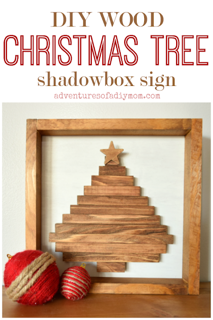 diy wood christmas tree shadowbox sign
