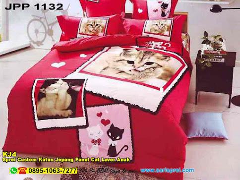 Sprei Custom Katun Jepang Panel Cat Lover Anak