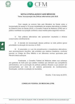 CFM emite nota sobre inclusão de terapias alternativas pelo SUS