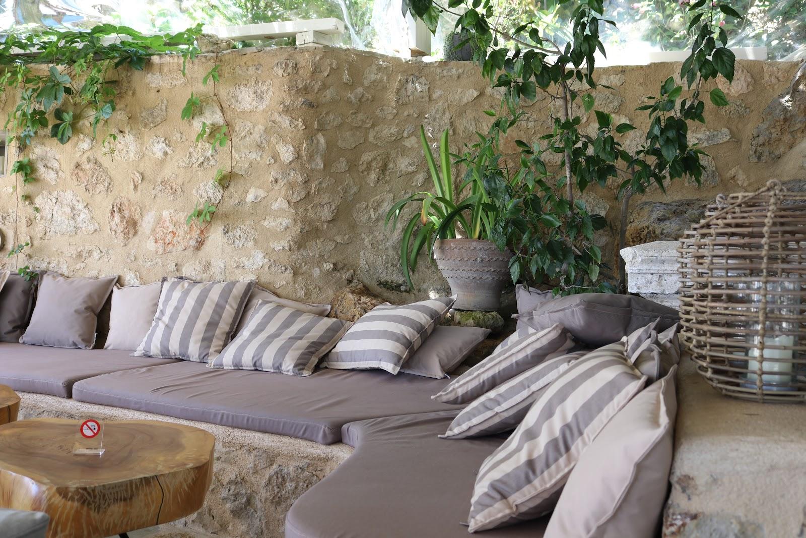 Sofas in the restaurant, F Zeen Resort, Unique Villas, Kefalonia