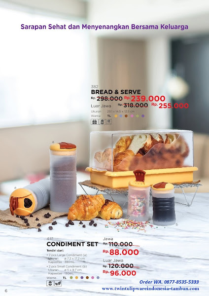 Promo Diskon Tulipware April 2018, Bread & Serve, Condiment Set