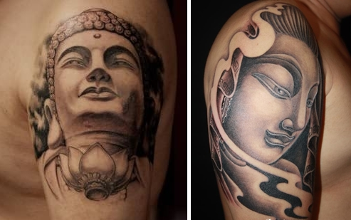 12 buddhist tattoos buddha face everything about tattoos. Black Bedroom Furniture Sets. Home Design Ideas