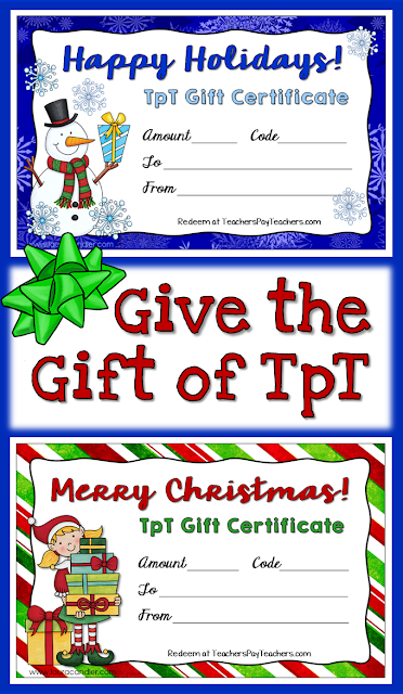 Free customizable TpT Holiday Gift Certificates! Download these festive gift certificates and purchase gift card codes from TpT. Customize each certificate by adding the recipient's name and a unique gift card code. Sure to be a hit with any educator!