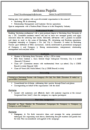 resume samples for mba freshers free download