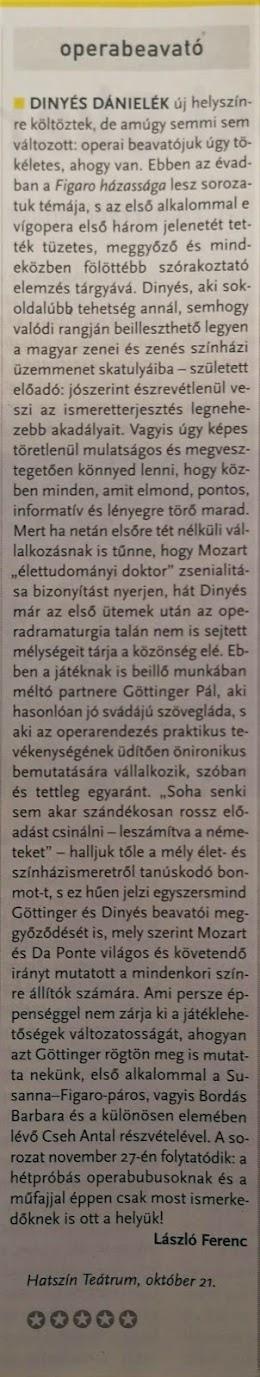 László Ferenc az Operabeavatóról a Magyar Narancsban