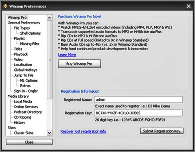Kumpulan Serial Winamp Pro All Version Terbaru