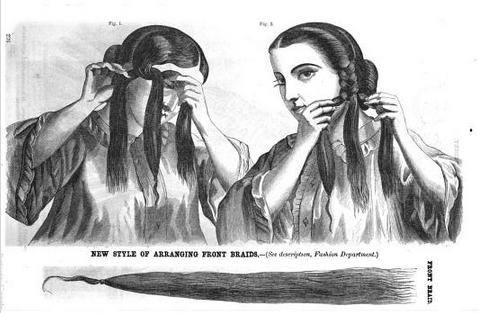 Hair-dressing: 1862 Side Braids With Rolls | Beth's Bobbins