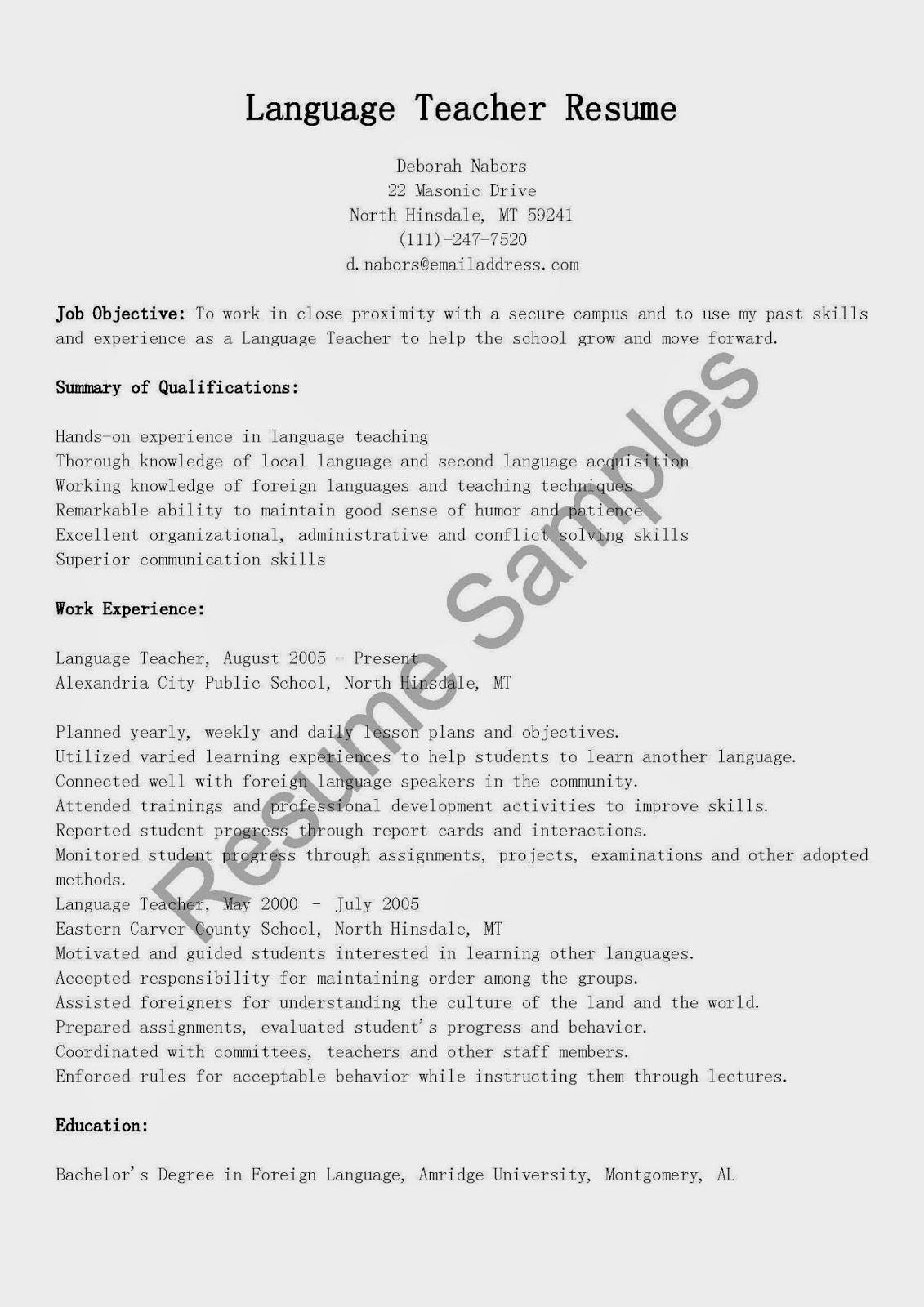 resume samples  language teacher resume sample