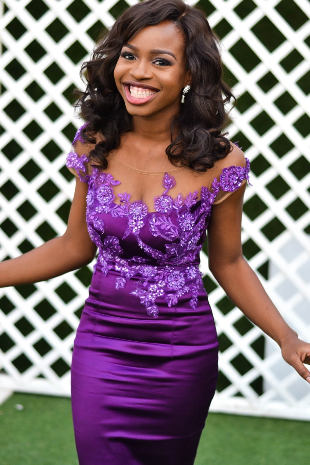 Lace Applique on Purple Evening Dress