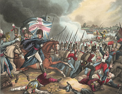 The Battle of Waterloo in The wars of Wellington, a narrative poem  by Dr Syntax illustrated by W Heath and JC Stadler (1819)