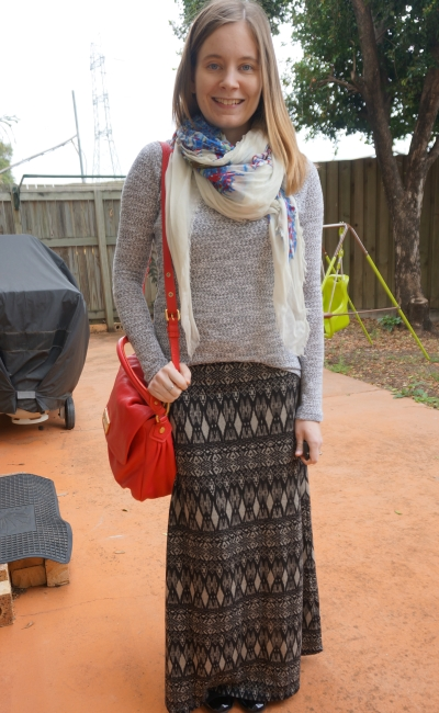 Away From Blue Blog | Grey Jumper printed scarf tribal maxi skirt red bag