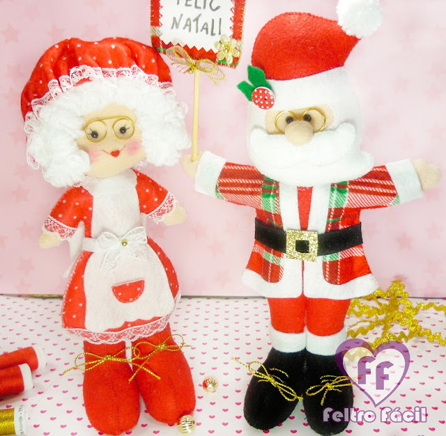 Papai e Mamãe Noel em Feltro