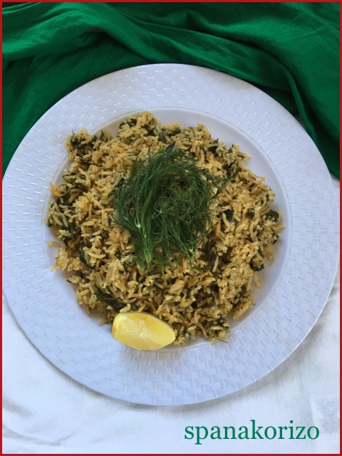 Spanakorizo ~~ Greek Spinach Rice